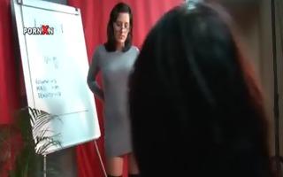 naughty teacher in glasses oiling lesbo milk