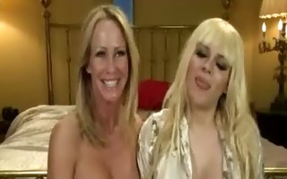 busty blond gags on giant dick of ladyman