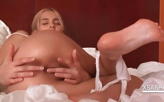 footjob in ottoman with sensual blond