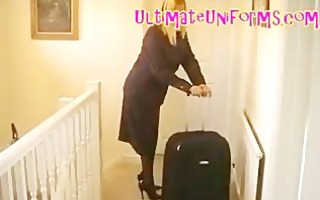 pantyhose stewardess in authentic flight