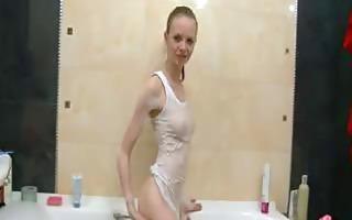czechian super slender girl in the shower