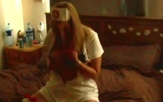 student breasty nurse copulates herself with