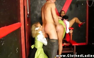 european babe threeway with women bawdy cleft