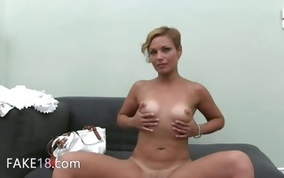 hot woman masturbate with toy on couch