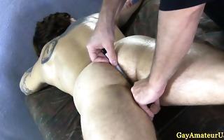 straight tattooed boy at homosexual massage