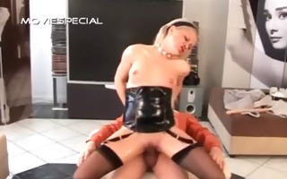 piss wet bitch in stockings jumping a loaded