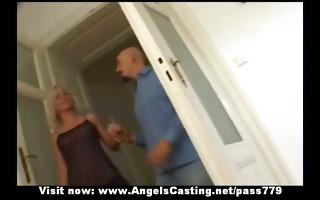 hawt blonde milf as bride does oral-service and