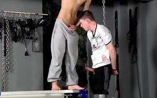 bdsm villein guy fastened up punished drilled