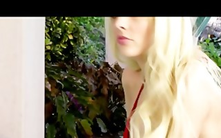sexy lustful blonde shows off her fresh bikini