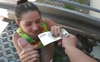 busty dilettante drilled in public for cash