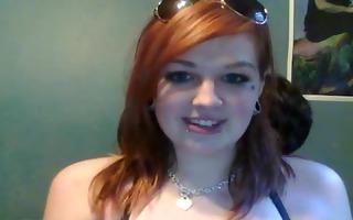 emo legal age teenager sucks on webcam