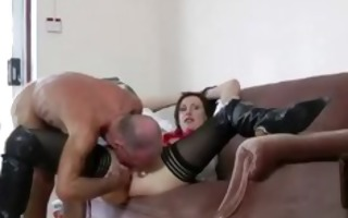mature threesome stocking lady punished