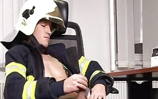 hunky firefighter masturbates in office