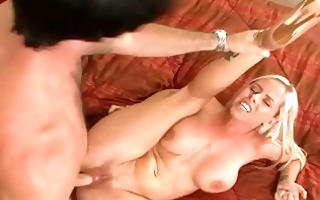 excited golden-haired housewife roughly drilled