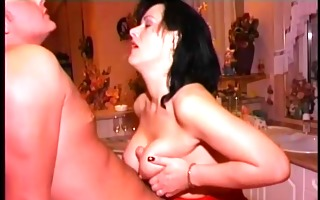 big-titted brunette hair sucks and copulates a