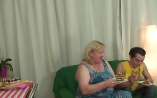 biggest titted mother in law pleases him