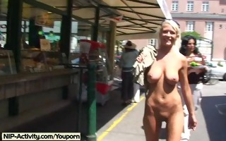 hot golden-haired shows their bare body in public