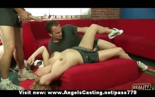 hot dilettante golden-haired having threesome and