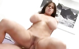 pale brunette hair with large breasts sucks cock