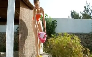peeing of alluring russian teenager
