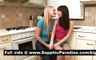 captivating brunette hair and blonde lesbos