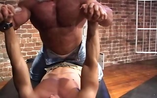 muscle worship, shave down, oil up