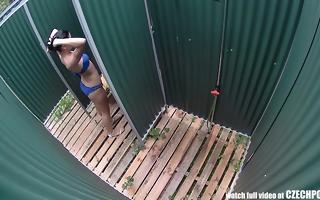 czech brunette hair hidden cam in public pool