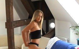 blond non-professional chick with blue dildo -