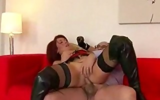 redhead in leather boots fucked by old boy