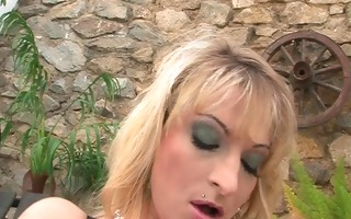golden-haired uses dildo in snatch,dick in mouth