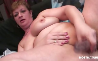 lonely golden-haired aged masturbating with dildo