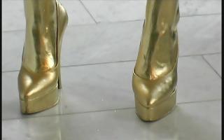 golden painted reneta luxuries posing