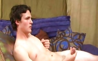 stylish homo stud jerks off in his bedf
