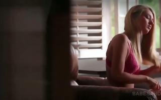 superb blond playgirl in lingerie showing hawt