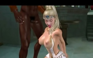 breathtaking 3d toon golden-haired engulfing on a