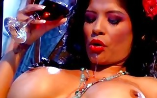 charming black haired milf with huge bosom