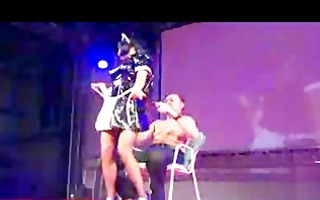 nasty stripper with big breasts on stage teasing